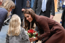 The Duchess of Cambridge spent Valentine's Day thousands of miles away from Prince William, as she visited Liverpool in one of her first solo public engagements.