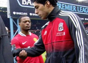 Luis Suarez was involved in a race row and handshake bust-up with Patrice Evra © Sky Sports