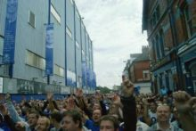 Around 250 Everton supporters took to the streets around Goodison Park before the 2-1 win against Wolves at the weekend.