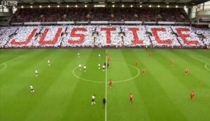 Hillsborough mosaic spells 'Justice' before the Liverpool v Manchester United game at Anfield © BBC Sport
