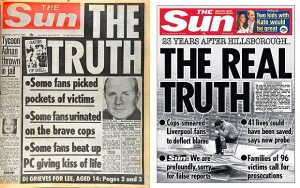 The Sun's infamous Hillsborough front page from 1989 and the real truth published 23 years later © News International