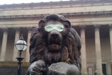 The lions on St George's Plateau received a make-over after being blindfolded for World Sight Day.