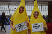 Shoppers took part in the making of a 90-metre banana split with 700 bananas and 360 litres of ice cream.