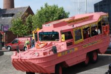 One of Liverpool's famous yellow Duckmarine boats has gone pink for breast cancer awareness.
