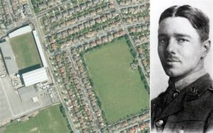 Left: Tranmere Rovers' football stadium, with the War Memorial Pavilion in the field opposite. Right: War poet Wilfred Owen. © Wilfred Owen Memorial Story