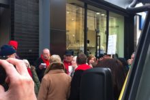 "Protesters sang outside the Bold Street Starbucks in the city centre in an attempt to further ""shame"" the coffee chain over tax."