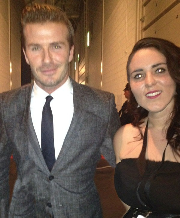 David Beckham with Tara Lamb backstage at the BBC Sports Personality of the Year show