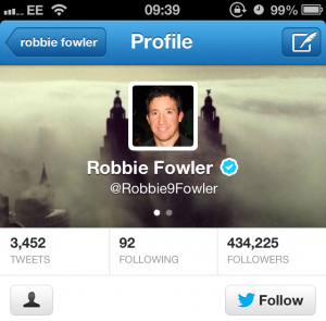 Robbie Fowler used Ida's fog picture on his Twitter profile page