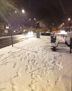 Snow in Allerton Road early on Monday morning. Pic: JMU Journalism