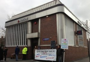 Protesters stood outside the NatWest bank in Toxteth