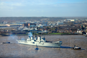 HMS Illustrious as she arrives in Liverpool for her five-day visit. Photo by Ida Husøy