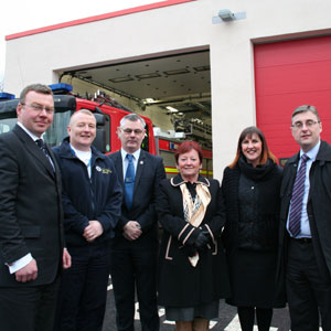 Kieran Timmins, Deputy Chief Executive of Merseyside Fire & Rescue Authority, Station Manager Dean Bolton, Chair of Merseyside Fire and Rescue Authority, Councillor Dave Hanratty, Vice Chair Councillor Linda Maloney, Sara Lawton, project manager at Merseyside Fire & Rescue Service for the Toxteth Fire Fit Hub, and Tony Shenton, Business Unit Director for Wates Construction, North West. Photo copyright: Merseyside Fire & Rescue Service