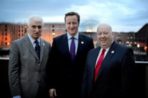CEO of Liverpool Vision Max Steinberg, PM David Cameron and Mayor Joe Anderson © Facebook/International Festival For Business 2014