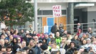 Hundreds of protesters in Liverpool joined national demonstrations against the government's new 'bedroom tax' .