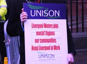 Liverpool in Work protested at the council budget meeting