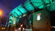 Liverpool's Kop is among 40 attractions across the world adopting an emerald hue for St Patrick's Day weekend.
