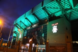 The Kop turns green to celebrate St Patrick's Day. Picture © Liverpool FC (LFC) on Twitter