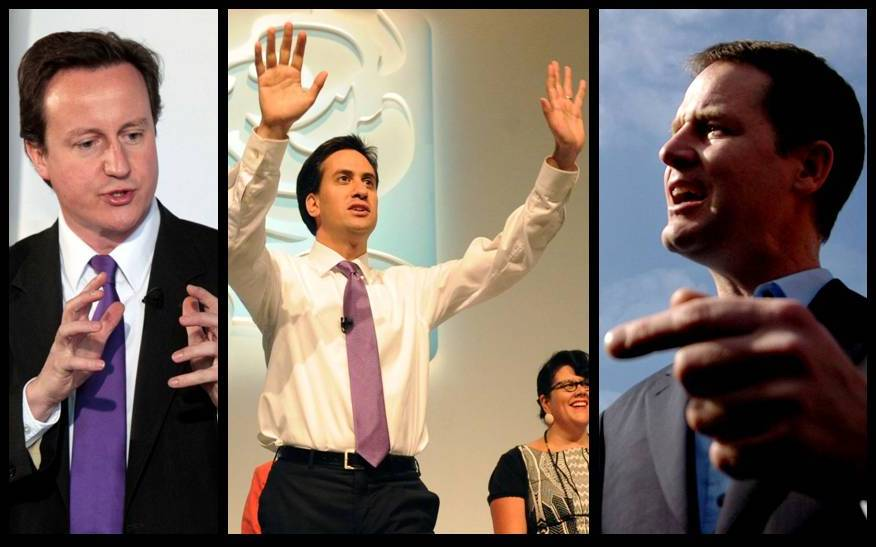 Party leaders David Cameron, Ed Miliband and Nick Clegg. Pictures © Trinity Mirror