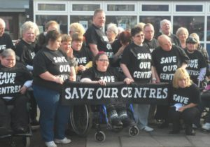 Moreton centre campaigners staging a protest against the closure © Facebook/Save Moreton Centre