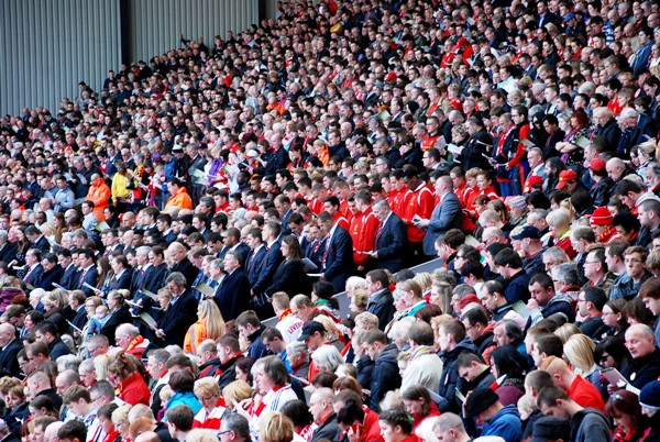 Hillsborough memorial crowd at Anfield on the 24th anniversary of the disaster. Pic by Alice Kirkland