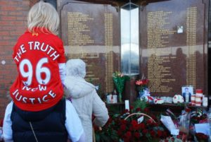 Respects paid at the Hillsborough memorial outside Anfield on the 24th anniversary of the disaster. Pic by Alice Kirkland