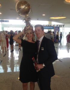 Claire Lydiat wearing the Dubai trophy hat