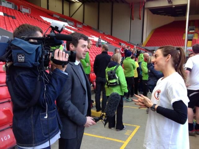 Chris Shaw with Mel C at Anfield