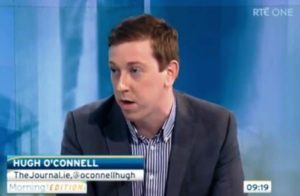 Hugh O'Connell reviewing the day's news on Irish TV channel RTE One © RTE One