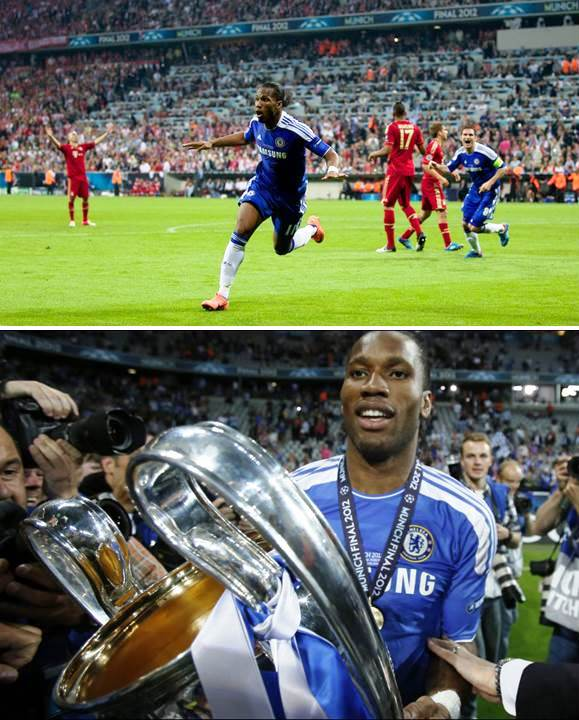 Vegard captures the moment when Didier Drogba scored in the 2012 Champions League Final (above), then ends up in the frame himself chasing the Chelsea match-winner