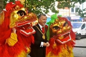 Lord Mayor Gary Millar with Chinese dragons. Pic by Laura Ryder