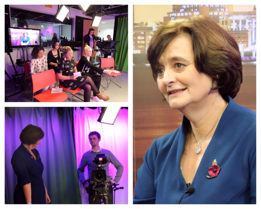 Cherie Blair talks to students from JMU Journalism on her visit to LJMU's Redmonds Building. Pics by Nathan Pearce
