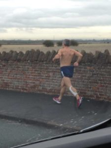 Mystery man runs half-naked in all weather conditions