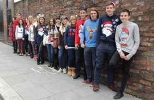 Third year Journalism students in their Christmas jumpers