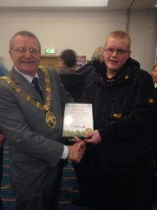Wirral Mayor presenting the award to Robert Meadows. Pics By Gemma Sherlock.