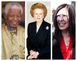 Nelson Mandela, Margaret Thatcher and Anne Williams all died in 2013. Pics © Wikipedia/Creative Commons & JMU Journalism (Anne Williams)
