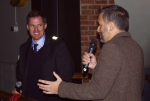 Guillem Balague with Liverpool legend Jamie Carragher at the book launch
