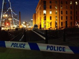 The Albert Dock was cordoned off as police divers searched for missing James Bennion. Photo: Ida Husøy