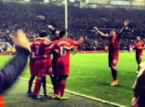 Liverpool celebrate their fourth goal. Pic by Husøy