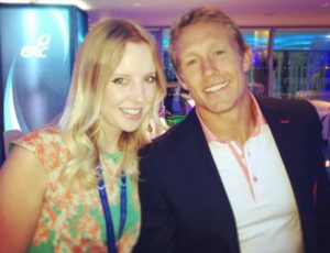 Louisa meeting England rugby legend Jonny Wilkinson after he won the Heineken Cup with Toulon in 2013