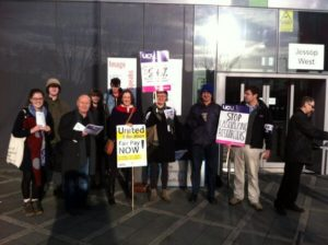 The picket line at Sheffield University © KatePahl/Twitter