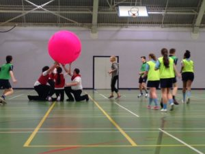 Kin-ball being played at the IM Marsh Sports Centre