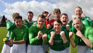 Alumni side celebrate after reaching the 2014 JMU Journalism World Cup Final. Pic by Roisin Brehony