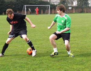 Goalscorer Chris Cunningham (left) takes on Connor Lynch. Pic by Craig Robertson