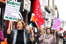 Women and men gathered in Liverpool to celebrate as well as protest against inequality on International Women's Day.