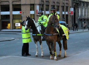 Merseyside mounted Police on duty. Pic © Jack Maguire