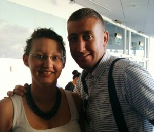 Sheena with X Factor star Christopher Maloney at a Macmillan event last year © Sport Supports LM/Twitter
