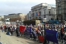 Thousands of trade unionists and protesters gathered in Liverpool to fight against austerity and public sector cuts in the city.