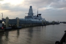 Liverpool's cruise terminal has been home to the Royal Navy's destroyer ship, HMS Dragon.