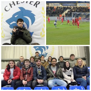Sports journalism students reporting live at Chester FC v Tamworth. Pics by John Mathews