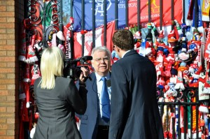 Everton FC chairman Bill Kenwright speaking after the Hillsborough 25th anniversary memorial service at Anfield. Pic by Ida Husøy